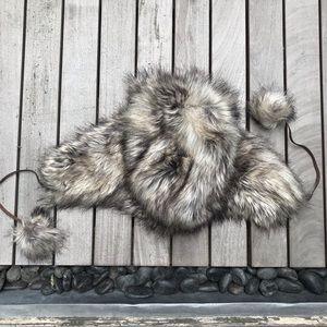 MERONA Black & Beige Faux Fur Tie Up Trapper Hat